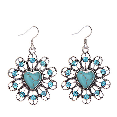 cheap Earrings-Women's Girls' Turquoise Drop Heart Love Ladies Vintage Bohemian western style Rhinestone Silver Plated Turquoise Earrings Jewelry Blue For Daily Casual