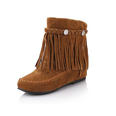Naisten Kengät Tekonahka Talvi Syksy Muotisaappaat Bootsit Kävely Kiilakantapää Tupsuilla varten Kausaliteetti ulko- Juhlat Musta Ruskea