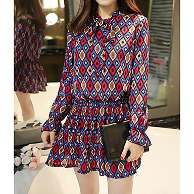 Nais- Sifonki Mekko Vintage Bile,Painettu Stand-kaula-aukko Reisipituinen ¾ hiha Sininen / Punainen Polyesteri Kevät / Syksy