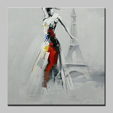 Hang-Painted Oliemaleri Hånd malede - Mennesker Moderne Med Ramme / Stretched Canvas