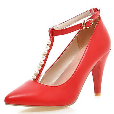 Damen Schuhe PU Frühling Sommer Herbst High Heels Walking Blockabsatz Mit Perle Schnalle Für Normal Kleid Party & Festivität Weiß Schwarz