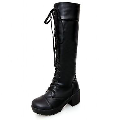 Hæle-Syntetisk-Cowboystøvler Snowboots Ridestøvler Modestøvler-Dame-Sort Hvid-Bryllup Kontor Formelt Fritid Fest/aften-Tyk hæl