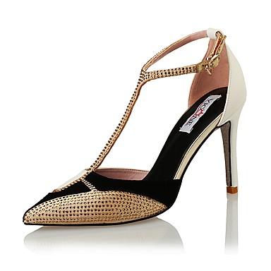 Sandaalit-Piikkikorko-Naisten-Fleece / Glitter-Musta ja kulta-Häät / Puku / Juhlat-Korot / Tyylit / Teräväkärkiset / Sandaalit