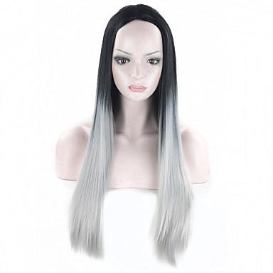 grå ombre paryk falsk hår syntetisk parykker 26