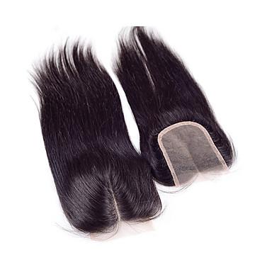 Rett 100 % håndknyttet Sveitsisk blonde Ekte hår Gratis Part Midtre del 3 Del