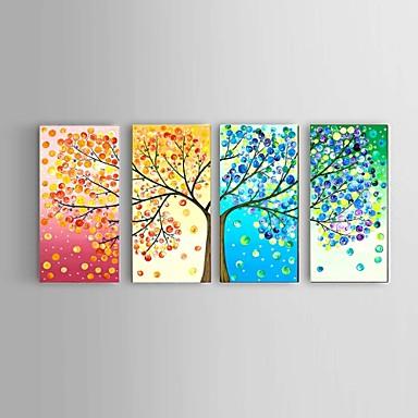 זול בית וגן-ציור שמן צבוע-Hang מצויר ביד - מופשט L ו-scape טבע דומם מודרני עם מסגרת / ארבעה פנלים