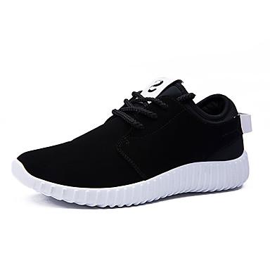 Heren Sneakers Lente Herfst Microvezel Casual Platte hak Overige Zwart ブラックとレッド Hardlopen