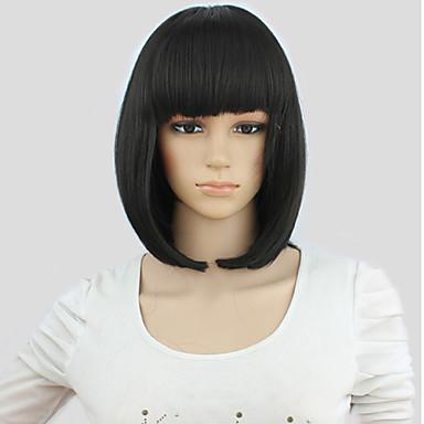 Pelucas sintéticas / Pelucas de Broma Recto Corte Bob / Con flequillo Pelo sintético Negro Peluca Mujer Sin Tapa