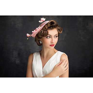 tul de encaje de lino pluma red fascinators headpiece estilo elegante
