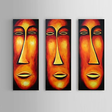 Hang-geschilderd olieverfschilderij Handgeschilderde - Abstract / Mensen / Abstracte portretten Klassiek / Modern / Europese Stijl Kangas / Drie panelen