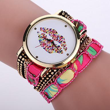 Mulheres Relógio de Pulso Bracele Relógio Relógio de Moda Quartzo / Tecido Banda Boêmio Legal Preta Branco Azul Vermelho Rosa Roxa