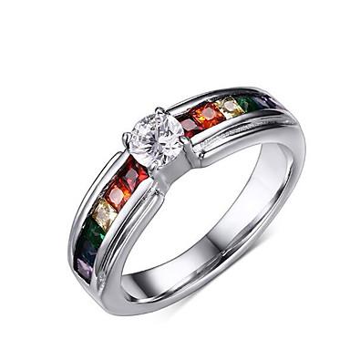 Heren Bandringen Gepersonaliseerde Luxe Informeel Titanium Staal Gesimuleerde diamant Sieraden Kerstcadeaus Causaal