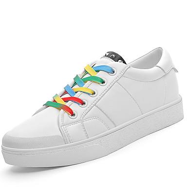 kvinners sko syntetiske vår / sommer / høst / vinter flats joggesko atletisk / uformell flat hæl svart / hvit