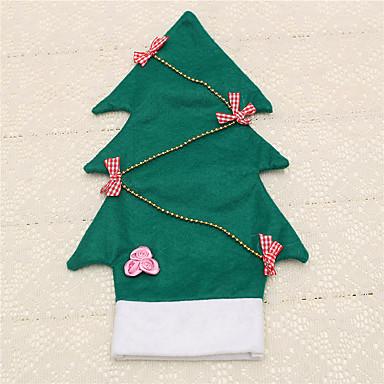 1pc vinflaske dækning bowknot juletræ taske hjem tabel middag dekoration leverancer udefra