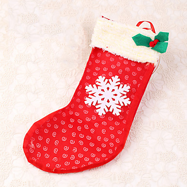 1pc do floco de neve da decoração do Natal da meia decoração presente saco de doces do xmas
