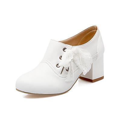 Støvler-Kunstlæder-Modestøvler-Dame-Sort Rosa Hvid Beige-Formelt-Tyk hæl