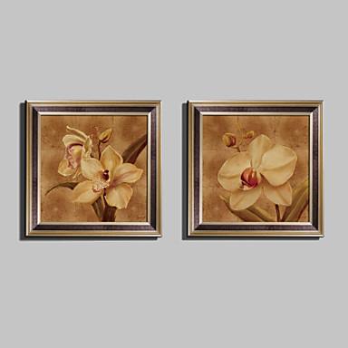 Framed Canvas Framed Set Floral/Botanical Wall Art, PVC Material With Frame Home Decoration Frame Art Living Room Bedroom Kitchen Dining