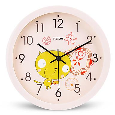 (Farve tilfældige) 8 inches børn soveværelse sød tegnefilm vægur mute cirkulære ur quartz ur