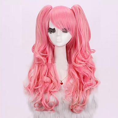 Pelucas sintéticas / Pelucas de Broma Rizado / Ondulado Medio Rosa Corte asimétrico Pelo sintético Entradas Naturales Rosa Peluca Mujer Larga Sin Tapa