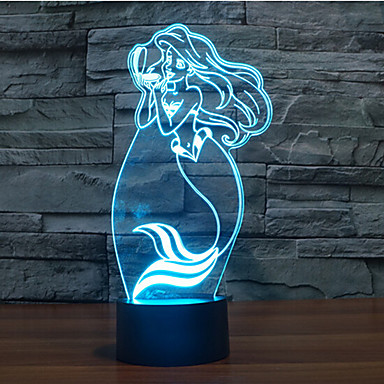 touch dimming 3d led natt lys 7colorful dekoration atmosfære lampe nyhed belysning lys