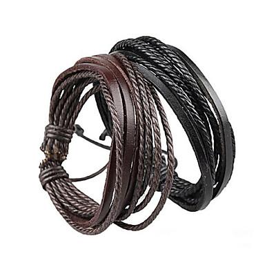 Unisex Mehrschichtig Geflochten Wickelarmbänder - Leder Simple Style, Mehrlagig Armbänder Schwarz / Braun Für Weihnachts Geschenke Party Alltag
