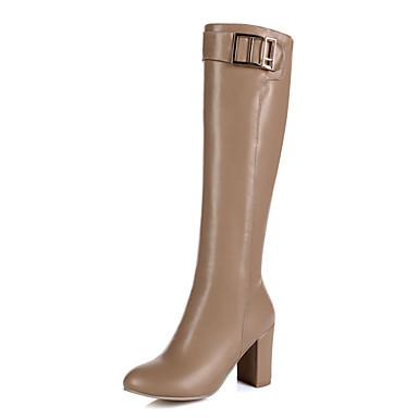 Støvler-Kunstlæder-Modestøvler-Dame-Sort Brun Mandel-Udendørs Kontor Fritid-Tyk hæl
