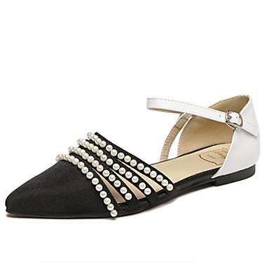 Dame-Tekstil-Flat hæl-Mary Jane / Spiss tå-Flate sko-Friluft-Svart