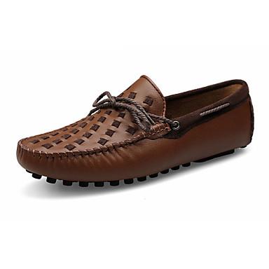 Herre sko Lær Vår Høst Komfort Båtsko Svart Gul Brun
