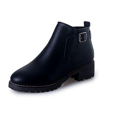 Mulheres Sapatos Couro Ecológico Primavera Outono Inverno Botas Sem Salto para Casual Preto Cinza-acastanhado