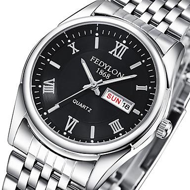 Pareja Reloj de Pulsera 30 m Reloj Casual Acero Inoxidable Banda Analógico Casual Moda Plata - Negro Plata Azul Un año Vida de la Batería / Tianqiu 377