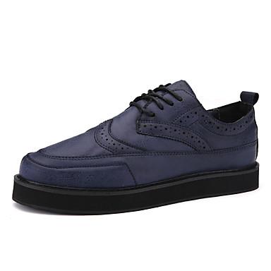 Heren Schoenen Kunstleer Lente Herfst Winter Comfortabel Oxfords Veters Voor Causaal Zwart Bruin Blauw