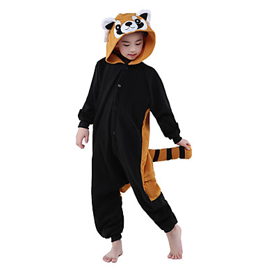 Mapache Kigurumi Niños Pijamas Navidad Halloween Carnaval Festival / Celebración Disfraces de Halloween Accesorios Marrón negro / Lana Polar