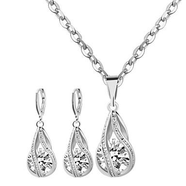 Dame Smykke Sæt Halskædevedhæng Zirkonium Legering Mode Sølv Gylden Smykker For Bryllup Fest Daglig Afslappet 1 Sæt