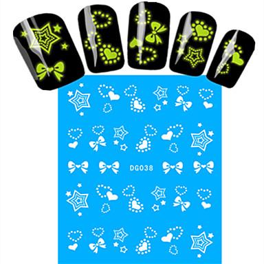 1 Nail Art tarra Vesi Siirto Tarra Full Nail Tips Cartoon Lovely Pimeässä hohtava meikki Kosmeettiset Nail Art Design