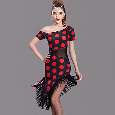 Latein-Tanz Kleider Damen Leistung Milchfieber Quaste / Tupfen Kurze Ärmel Normal Kleid / Latintanz