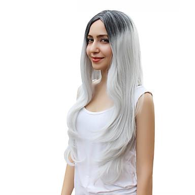 natureza perucas mulheres senhora longos 1b / cor cinza perucas de cabelo cosplay reta