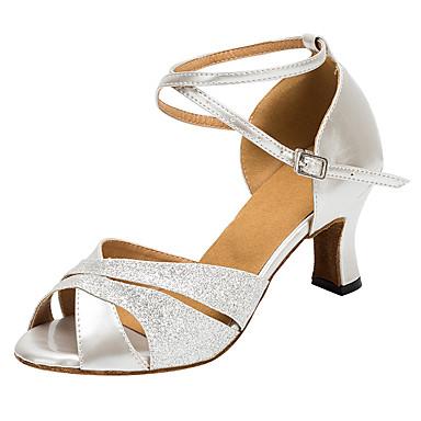 Dansesko(Gul / Sølv) -Kan tilpasses-Personligt tilpassede hæle-Damer-Latin / Salsa