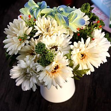 1 1 Afdeling Polyester / Plastik Tusindfryd Bordblomst Kunstige blomster 11.47inch/29cm