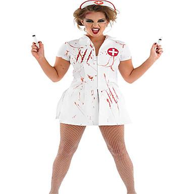 Sygeplejeske Cosplay Kostumer Festkostume Dame Halloween Festival / Højtider Halloween Kostumer Hvid Ensfarvet Trykt mønster