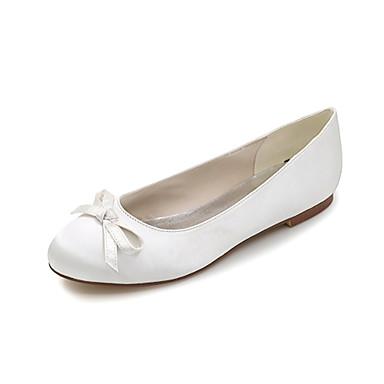 Damen Schuhe Satin Frühling Sommer Flache Schuhe Flacher Absatz Schleife für Hochzeit Party & Festivität Büro & Karriere Kleid Purpur Rot