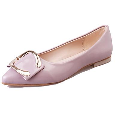 Mulheres Sapatos Couro Envernizado Outono Rasos Sem Salto Laço Preto / Verde / Rosa claro