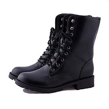 Støvler-PU-Modestøvler-Dame-Sort-Udendørs Fritid Sport-Flad hæl