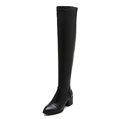 Støvler-Kunstlæder-Ridestøvler-Dame-Sort-Formelt-Tyk hæl