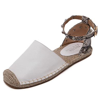 Dame-PU-Flat hælFlate sko-Fritid-Svart Hvit