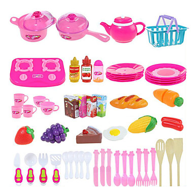 hesapli Oyuncaklar ve Oyunlar-Oyuncak Mutfak Takımları Kids 'Pişirici Cihazlar Rol Yapma Oyunu Sebze Meyve Kendin-Yap ABS Genç Erkek Genç Kız Oyuncaklar Hediye 54 pcs