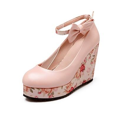Mulheres Sapatos Couro Ecológico Verão Outono Saltos Salto Plataforma Laço para Casual Escritório e Carreira Branco Rosa claro