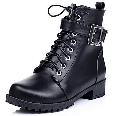 Støvler-Kunstlæder-Rund tå / Combat-støvler / Ankelstøvler-Dame-Sort / Brun-Hverdag-Lav hæl