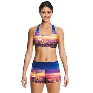 Mulheres Sem Mangas Corrida Conjuntos de Roupas/Ternos Respirável Secagem Rápida Resistente ao Choque Verão Moda EsportivaIoga Exercício