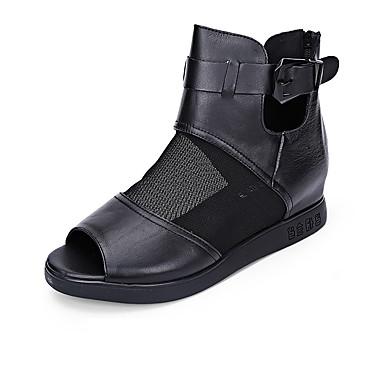 Sandaler-LæderDame-Sort Rød-Kontor Formelt Fritid-Flad hæl