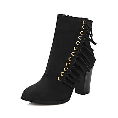 Damen Schuhe Vlies Herbst Winter Stiefel Blockabsatz Booties / Stiefeletten Reißverschluss Quaste Für Normal Kleid Party & Festivität